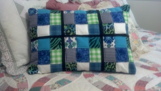 Scrappy 9 patch quilted pillow cover - front