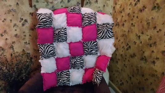 Pink + zebra stripe pillow quilt front 2