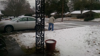 "Jerry shoveling our ""snow"""